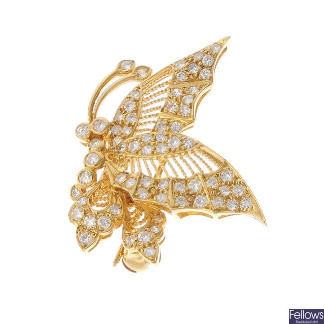 An 18ct gold diamond butterfly brooch.