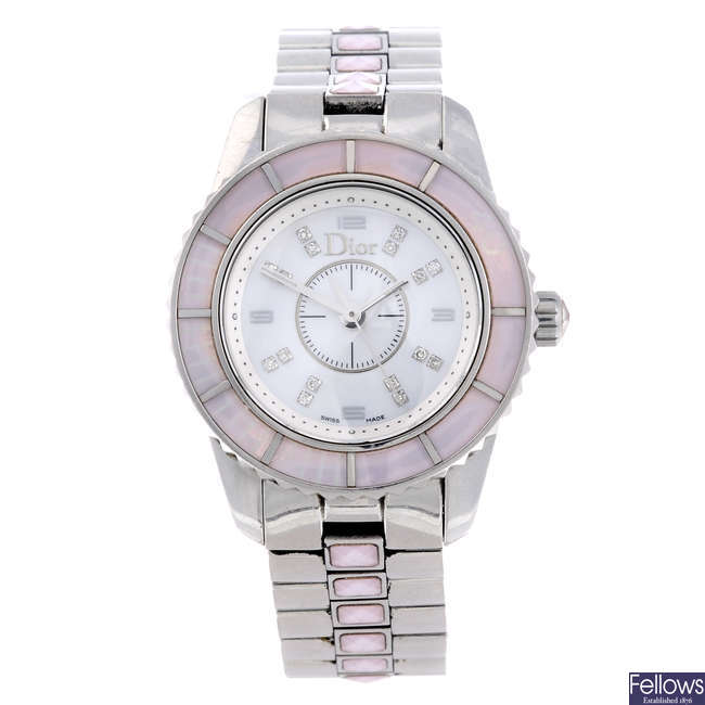 DIOR - a lady's stainless steel Christal bracelet watch.