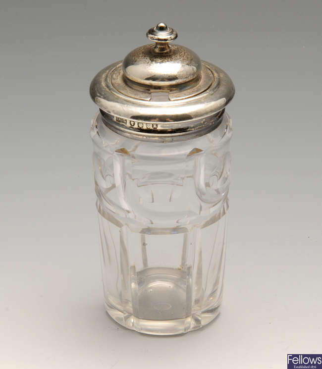 A selection of silver to include an early Victorian silver mounted condiment jar, etc.