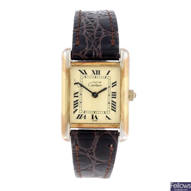 CARTIER - a gold plated silver Must De Cartier Tank wrist watch.