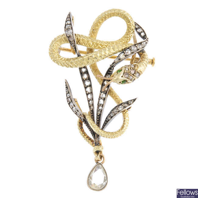 A late Victorian silver and gold, diamond pendant/brooch.