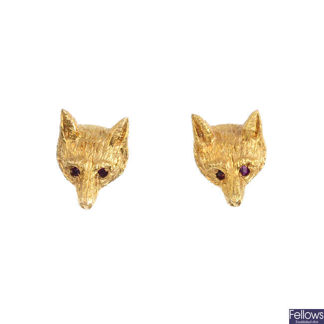 A pair of 1970s 9ct gold fox stud earrings.