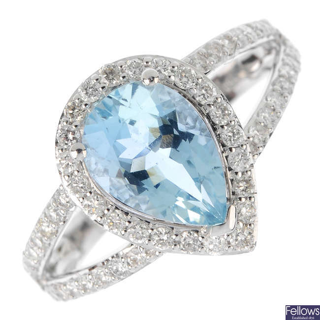 An aquamarine and diamond cluster ring.