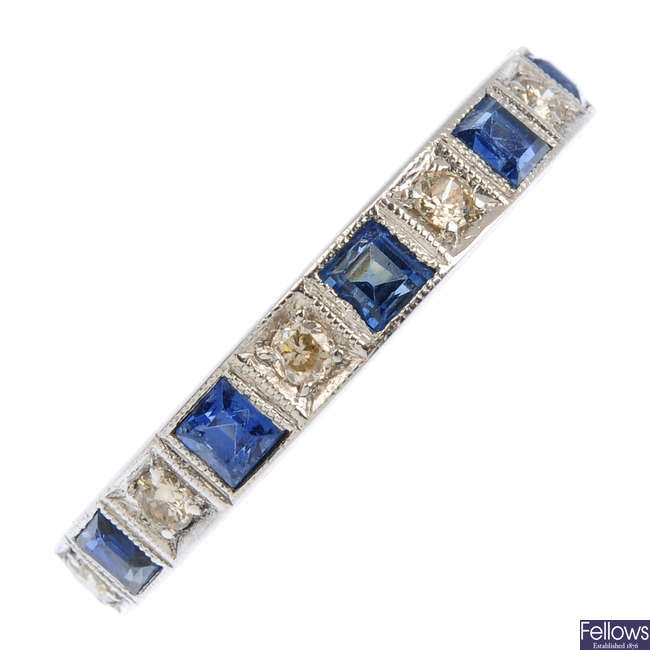 A sapphire and diamond full eternity ring.