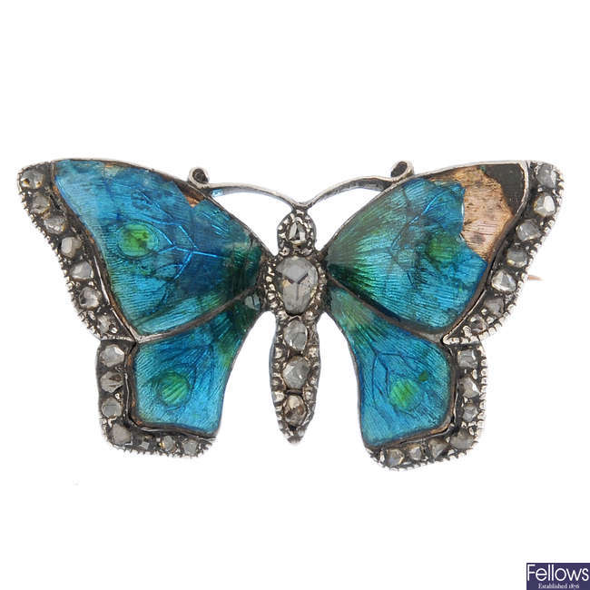 CHILD & CHILD - a late Victorian silver and gold, diamond and enamel butterfly brooch.