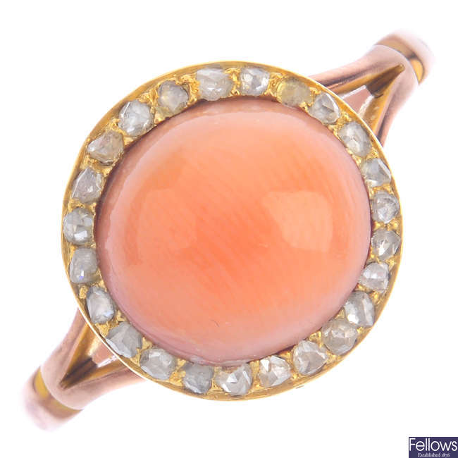 A mid 20th century 9ct gold coral and diamond ring.