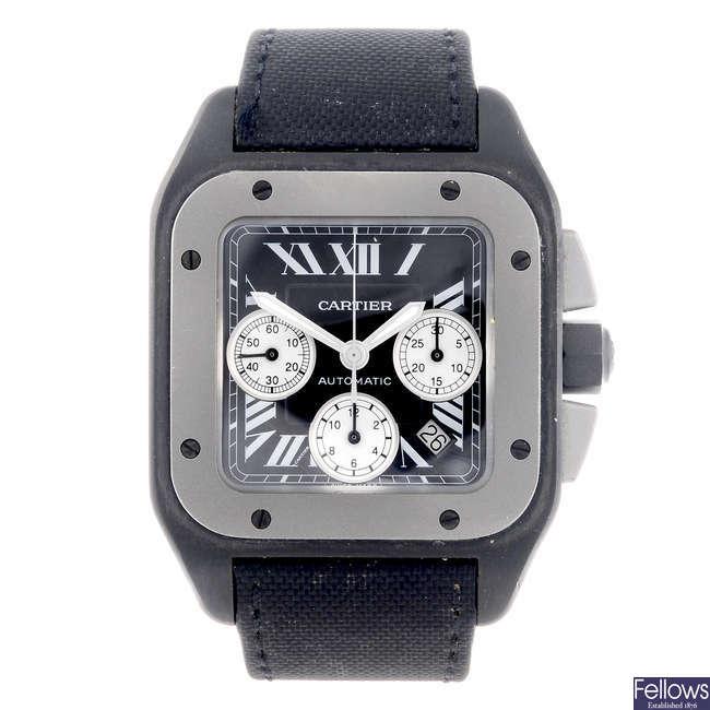CARTIER - a bi-metal Santos 100 chronograph wrist watch.