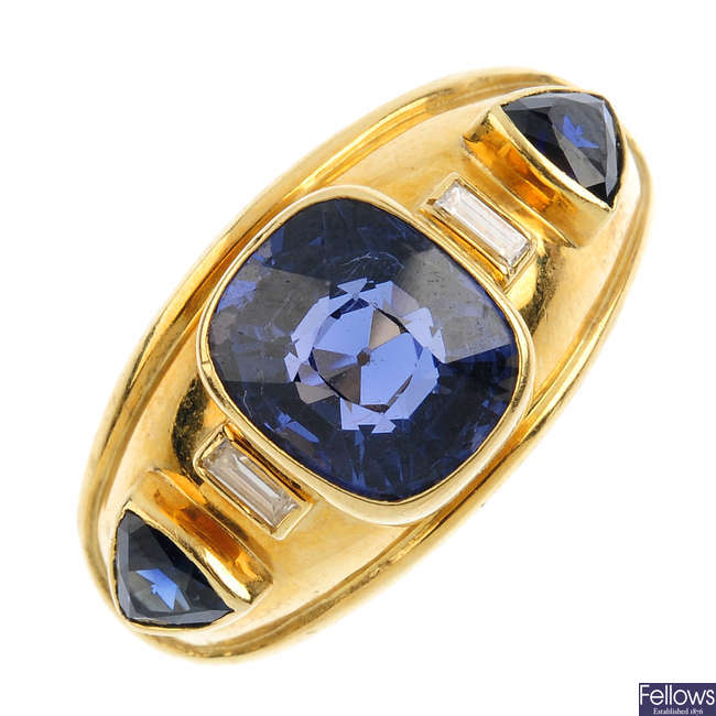 An 18ct gold spinel, sapphire and diamond ring.