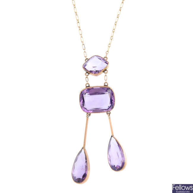 An early 20th century amethyst negligee pendant.