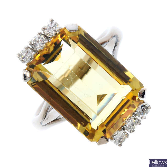A mid 20th century gold heliodor and diamond cocktail ring.