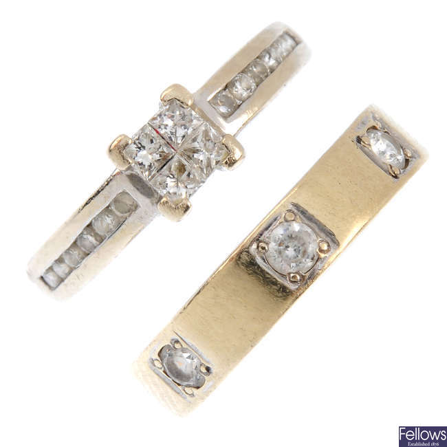 Two diamond and cubic zirconia rings.