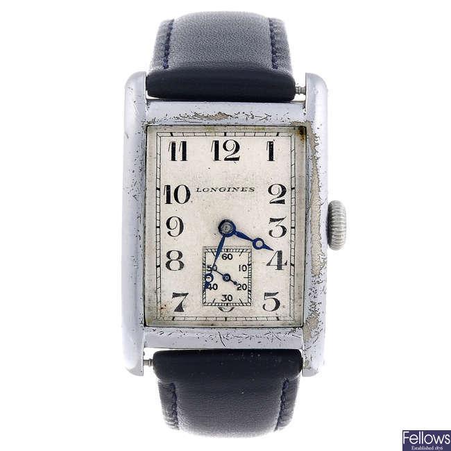 LONGINES - a gentleman's nickel plated wrist watch.