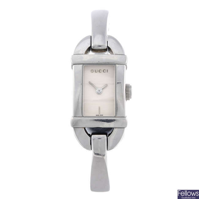 GUCCI - a lady's stainless steel 6800L bracelet watch.