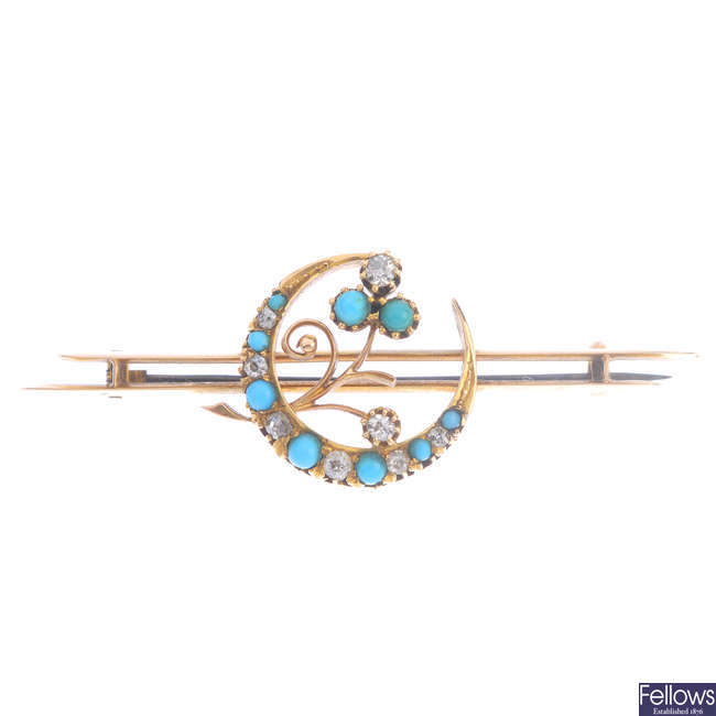 A late Victorian gold turquoise and diamond crescent brooch.