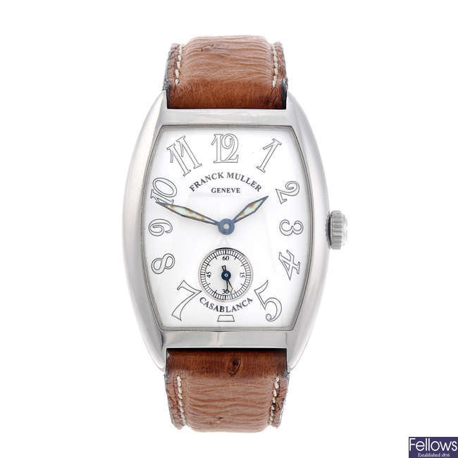 FRANCK MULLER - a lady's stainless steel Casablanca wrist watch.