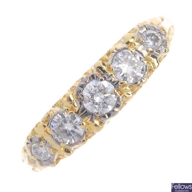 An 18ct gold diamond five-stone ring.