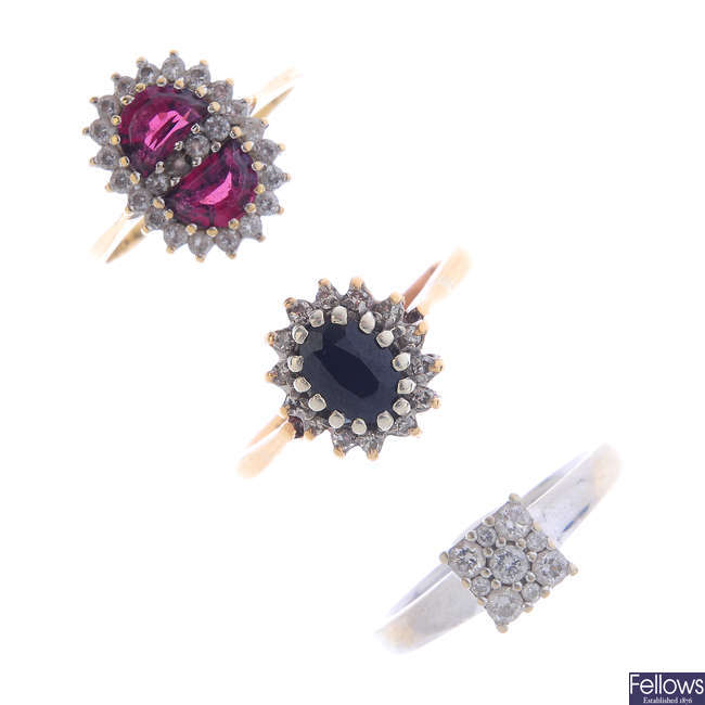 Three diamond, cubic zirconia and gem-set cluster rings.