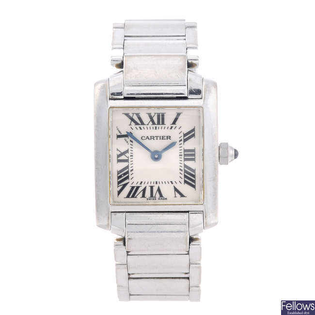 CARTIER - an 18ct white gold Tank Francaise bracelet watch.