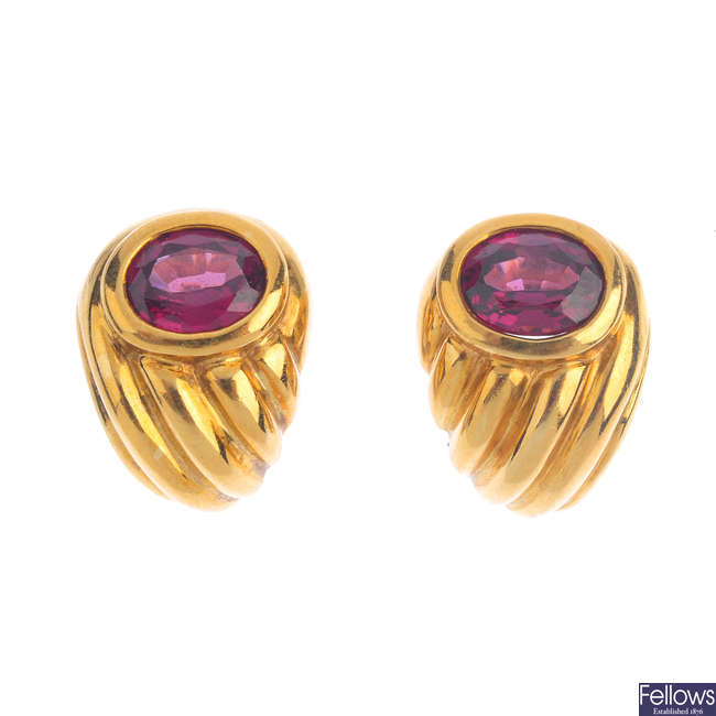 A pair of 18ct gold tourmaline earrings.