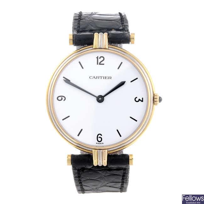 CARTIER - an 18ct yellow gold Vendome wrist watch.