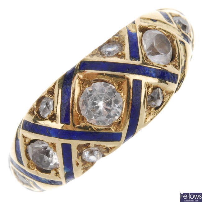 A late 19th century gold diamond, paste and enamel memorial ring.