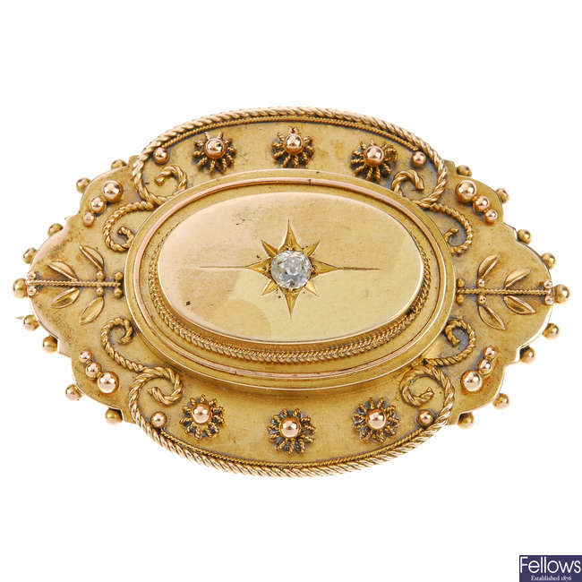 A late Victorian 15ct gold and diamond memorial brooch.