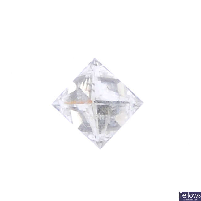 A square-shape diamond, weighing 0.38ct.