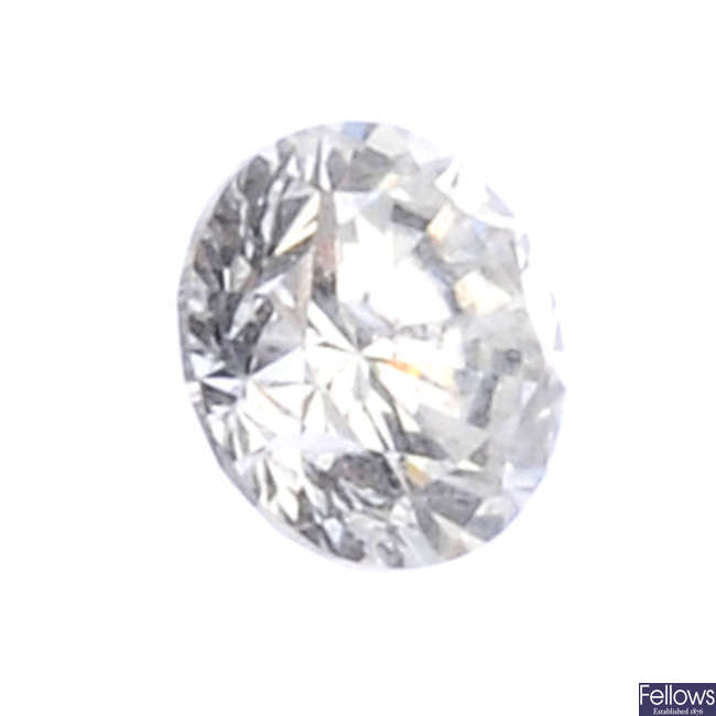 A brilliant-cut diamond, weighing 0.39ct.