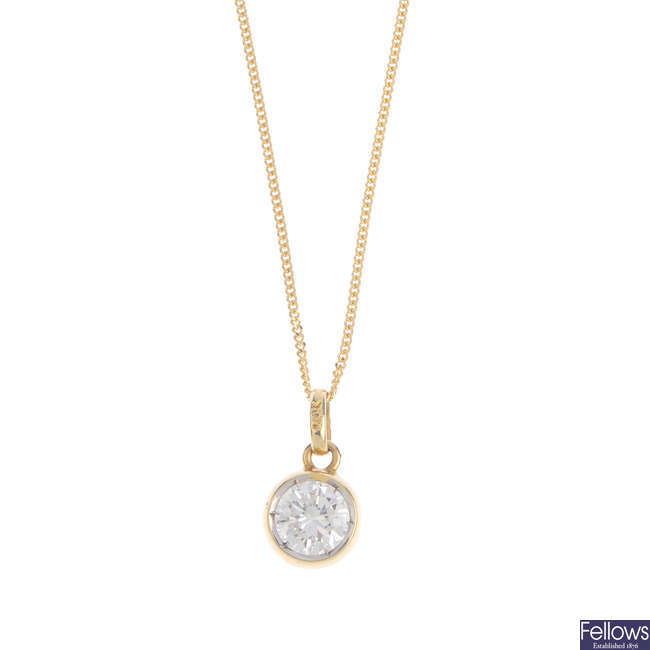 A diamond single-stone pendant, with 18ct gold chain