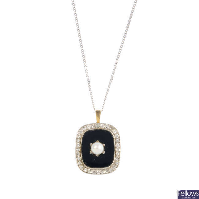 A diamond and gem-set pendant, with an 18ct gold chain.
