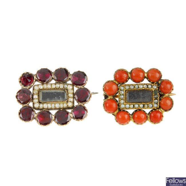 Two mid Victorian gem memorial brooches.