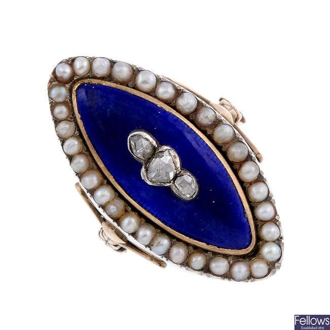 A late Georgian gold enamel, diamond and split pearl ring.