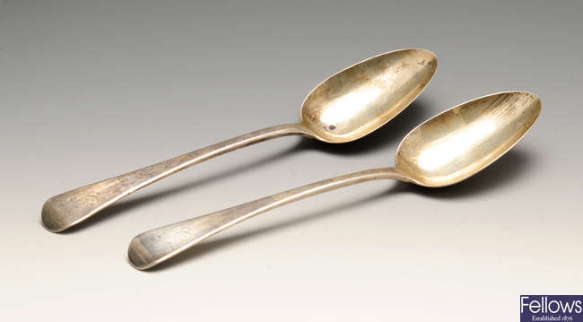 A selection of silver to include a George IV pair of silver table spoons, etc.
