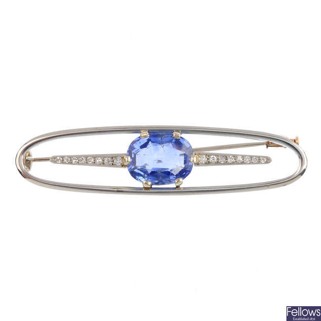 A Ceylon sapphire and diamond brooch.
