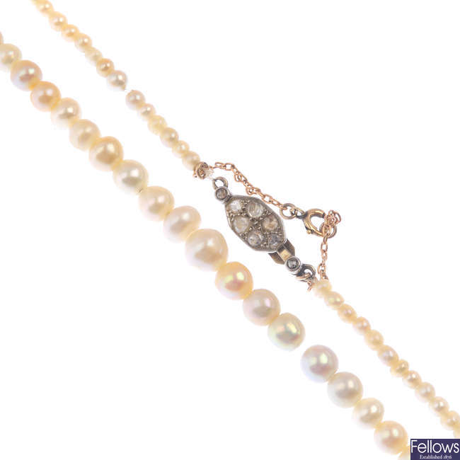 A pearl and diamond single-strand necklace.
