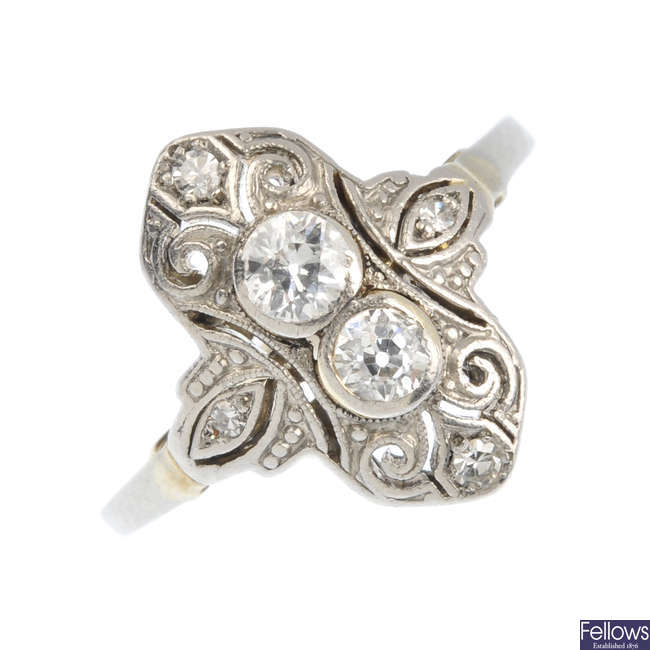 An early 20th century gold diamond dress ring.