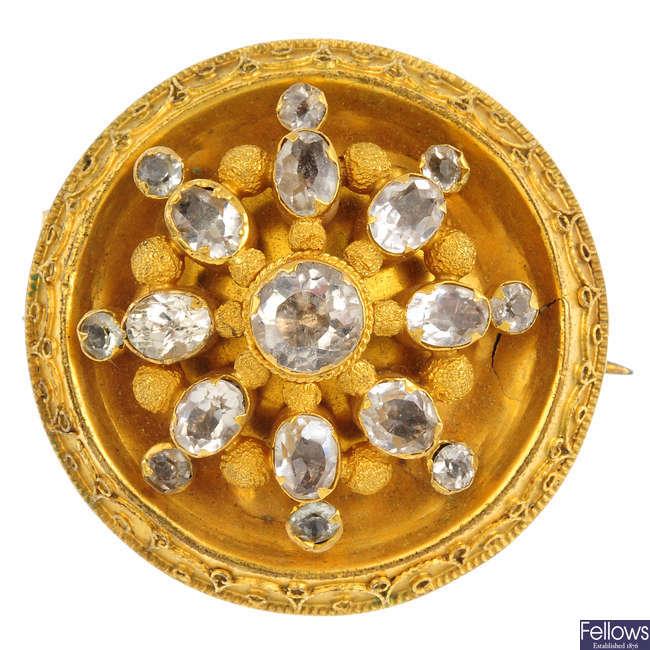 A mid Victorian gem-set brooch.