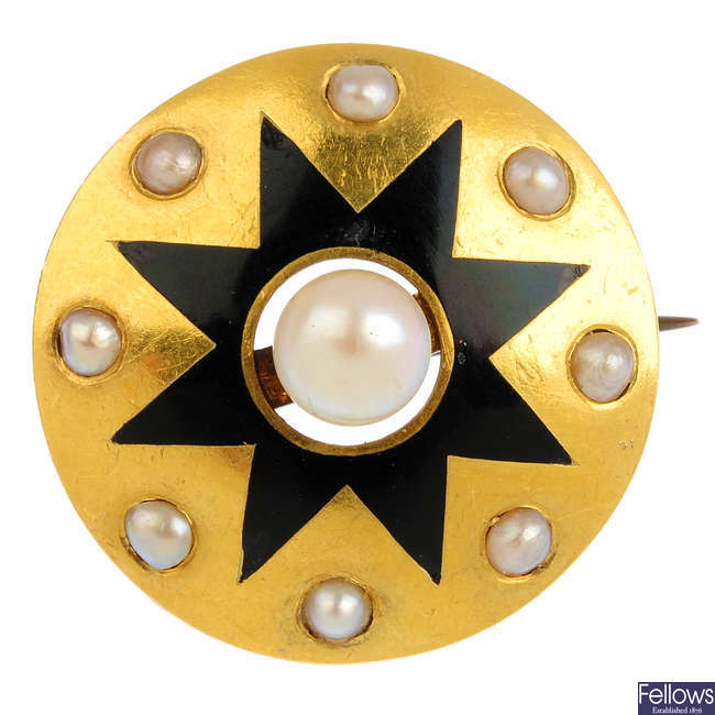 A late Victorian gold, cultured pearl and enamel brooch, circa 1870.