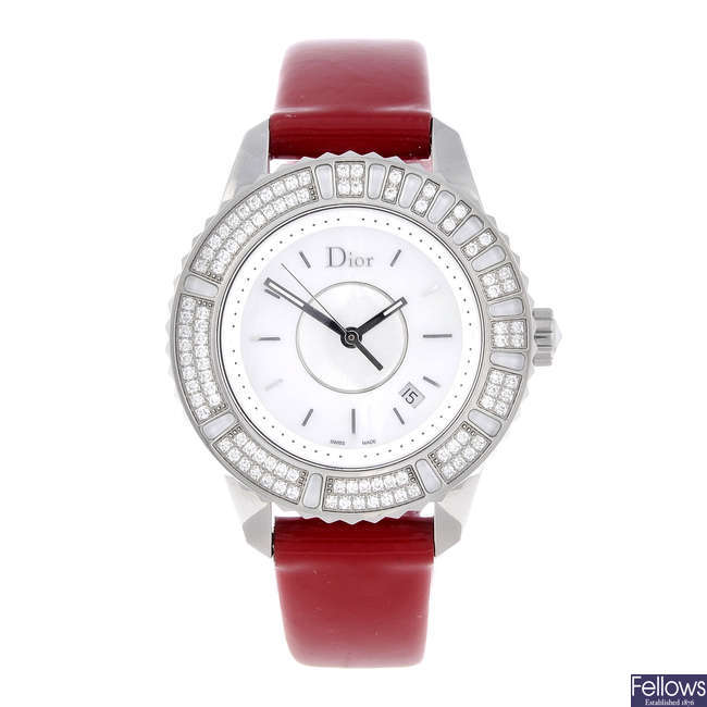 DIOR - a lady's stainless steel Christal wrist watch.