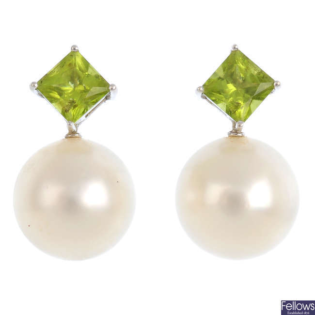 A cultured pearl, peridot and diamond pendant and earring set.