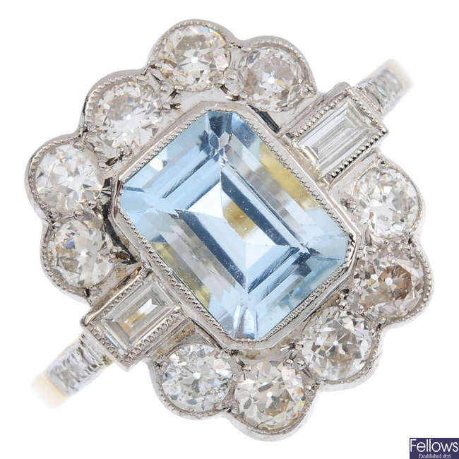 An aquamarine and diamond cluster ring.