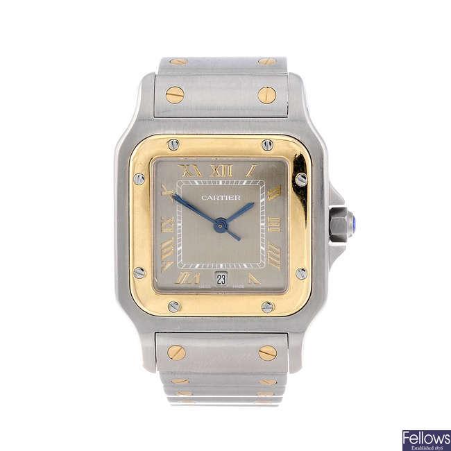 CARTIER - a bi-metal Santos bracelet watch.