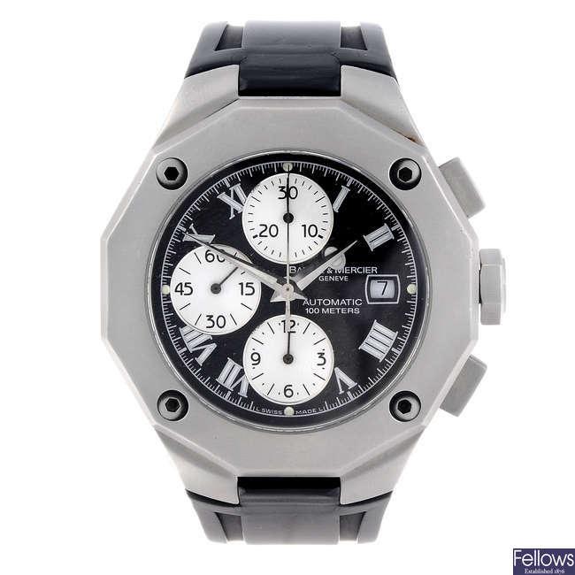 BAUME & MERCIER - a gentleman's stainless steel Riviera chronograph wrist watch.