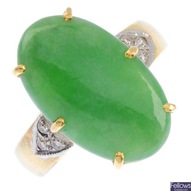 A jadeite and diamond ring.