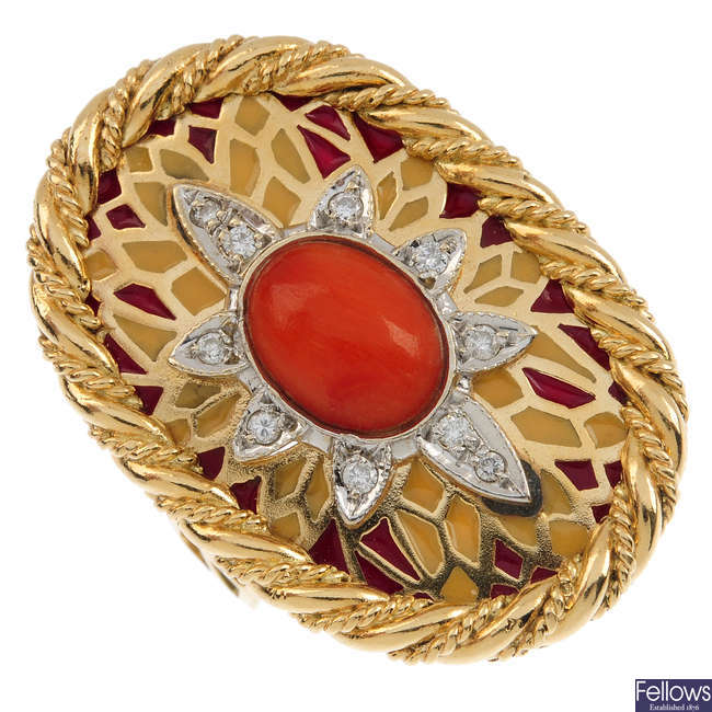 An 18ct gold coral diamond and enamel ring.