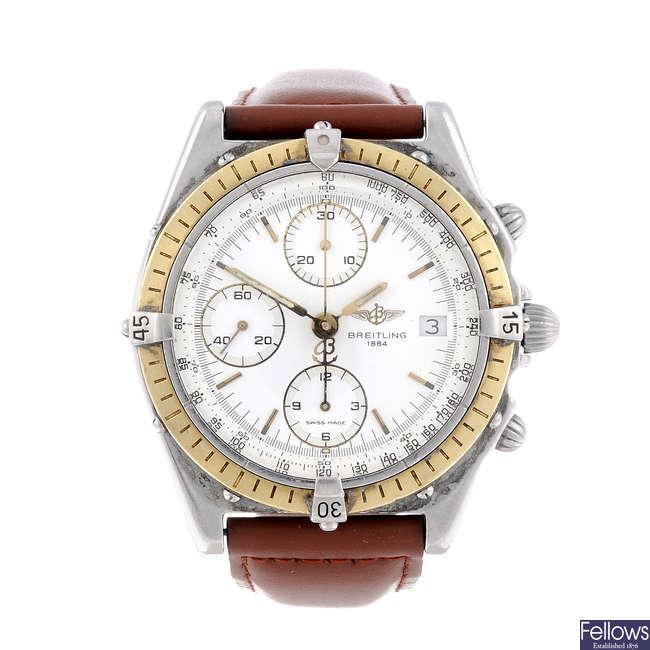 BREITLING - a gentleman's bi-metal Chronomat chronograph wrist watch.