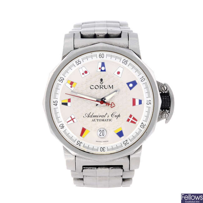 CORUM - a gentleman's stainless steel Admiral's Cup bracelet watch.