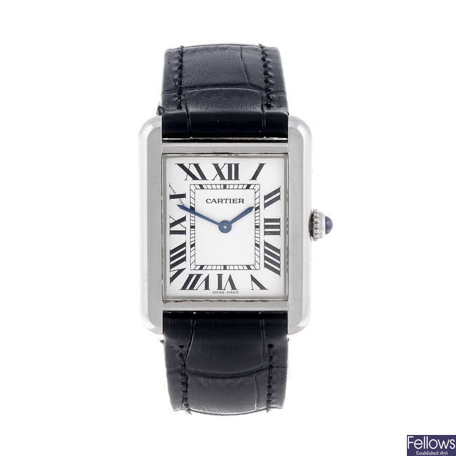 CARTIER - a stainless steel Tank Solo wrist watch.