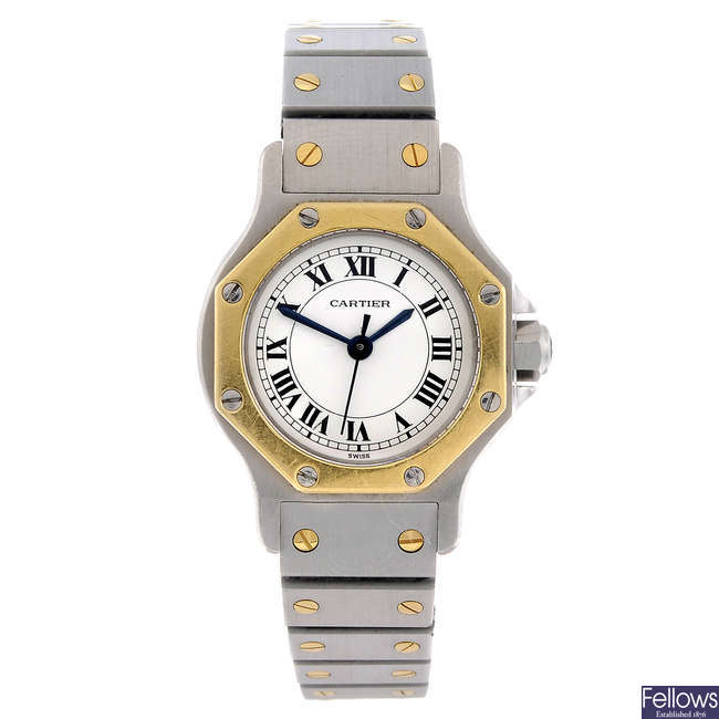 CARTIER - a bi-metal Santos Ronde bracelet watch.