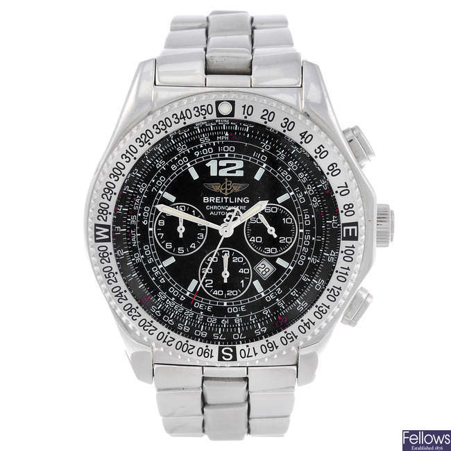 BREITLING - a gentleman's stainless steel B-2 chronograph bracelet watch.